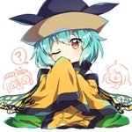 4girls :d ;o >_< ? ahoge aqua_hair bangs black_hat blush butterfly_wings caramell0501 chibi chibi_inset commentary cosplay eternity_larva eyebrows_visible_through_hair green_skirt hand_up hat head_tilt heart long_hair long_sleeves looking_at_viewer matara_okina matara_okina_(cosplay) multiple_girls nishida_satono one_eye_closed open_mouth orange_eyes oversized_clothes sakata_nemuno short_hair short_hair_with_long_locks simple_background skirt sleeves_past_fingers sleeves_past_wrists smile solo_focus spoken_question_mark tabard teireida_mai touhou white_background wide_sleeves wings xd