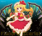 15_(tooka) 1girl ascot blonde_hair blush bow character_name crystal flandre_scarlet gradient gradient_background hat hat_bow looking_at_viewer mob_cap open_mouth outstretched_arm ponytail puffy_sleeves red_eyes ribbon sash shirt short_hair short_sleeves side_ponytail skirt skirt_set smile socks solo star touhou vest white_legwear wings