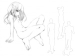 1girl barefoot feet flat_chest jirou_(chekoro) legs monochrome nude original sketch solo