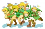 6+boys blonde_hair blue_eyes link multiple_boys multiple_persona older tatl the_legend_of_zelda the_legend_of_zelda:_a_link_to_the_past the_legend_of_zelda:_link's_awakening the_legend_of_zelda:_majora's_mask the_legend_of_zelda:_ocarina_of_time usikani younger zelda_ii:_the_adventure_of_link