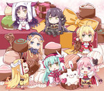 1boy 6+girls >_o abigail_williams_(fate/grand_order) ahoge aqua_hair astolfo_(fate) black_bow black_dress black_hair blonde_hair blue_eyes bow box braid bunny chibi chocolate commentary_request detached_sleeves dress epaulettes eyebrows_visible_through_hair facial_mark fang fate/grand_order fate_(series) forehead_mark fur_trim gift gift_box green_eyes hair_between_eyes hat headdress horns ibaraki_douji_(fate/grand_order) jitome kiyohime_(fate/grand_order) long_dress long_hair looking_at_viewer mandrake multiple_girls nero_claudius_(fate) nero_claudius_(fate)_(all) one_eye_closed oni_horns orange_bow otoko_no_ko pink_hair pointy_ears purple_eyes red_dress rioshi semiramis_(fate) sesshouin_kiara single_braid sleeves_past_wrists smile stuffed_animal stuffed_toy teddy_bear valentine very_long_hair witch_hat yellow_eyes