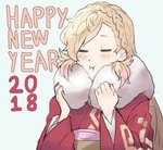 1girl 2018 artist_request blonde_hair braid closed_eyes fire_emblem fire_emblem_heroes highres japanese_clothes kimono long_hair new_year sharena simple_background smile solo white_background