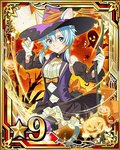 1girl animal_ears blue_eyes blue_hair bow breasts card_(medium) cat_ears cat_tail cleavage detached_sleeves dress garter_straps gloves hair_between_eyes hair_bow halloween halloween_costume hat looking_at_viewer medium_breasts moon number orange_bow pumpkin shinon_(sao) shinon_(sao-alo) short_hair_with_long_locks smile solo star striped striped_legwear sword_art_online tail thighhighs white_gloves witch_hat