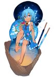 1girl ahoge bare_arms bare_legs barefoot bloomers blue_bow blue_dress blue_eyes blue_hair bow cirno cloud dress eyebrows_visible_through_hair feet flower food full_body hair_between_eyes hair_bow hand_up highres holding ice ice_cream ice_cream_cone ice_wings knee_up looking_at_viewer morning_glory open_mouth popsicle red_ribbon ribbon short_hair simple_background sitting sky sleeveless sleeveless_dress solo star_(sky) starry_sky sunflower takotsu tan tanned_cirno toenails touhou transparent_wings triple_scoop underwear watermelon_bar white_background wings