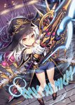 1girl >:) akkijin black_gloves carpet gloves hat holding holding_weapon indoors looking_at_viewer looking_up official_art polearm red_carpet runes shinkai_no_valkyrie short_shorts shorts silver_hair spear weapon witch witch_hat yellow_eyes
