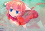 1girl :3 all_fours animal_ears bad_id bad_pixiv_id blue_eyes copyright_request lm7_(op-center) pink_hair solo water