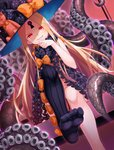 1girl abigail_williams_(fate/grand_order) asymmetrical_legwear bangs black_bow black_headwear black_legwear black_panties blonde_hair blush bow commentary_request dutch_angle evil_grin evil_smile fate/grand_order fate_(series) feet grin hand_up hat hat_bow highres kasaran keyhole knee_up legs long_hair multiple_bows multiple_hat_bows no_shoes orange_bow panties parted_bangs red_eyes revealing_clothes single_thighhigh sitting skull_print smile soles solo stuffed_animal stuffed_toy suction_cups teddy_bear tentacles thighhighs toes topless underwear v-shaped_eyebrows very_long_hair witch_hat