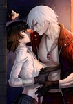 1boy 1girl abs against_wall bandages black_hair breasts commentary dante_(devil_may_cry) devil_may_cry devil_may_cry_3 dirty eye_contact gun handgun jacket jewelry lady_(devil_may_cry) large_breasts looking_at_another necklace nipple_slip nipples open_clothes open_jacket parted_lips pectorals silver_hair skirt smile sweat typo_(requiemdusk) wall_slam weapon