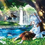 1girl album_cover animal_ears closed_eyes cover dappled_sunlight forest grass hat hat_ribbon instrument inubashiri_momiji marashii nature piano playing_instrument playing_piano ribbon river sakino_shingetsu shirt silver_hair skirt sleeping tail tokin_hat touhou water waterfall wide_sleeves wolf_ears wolf_tail