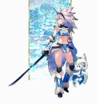 1girl animal bandeau black_hairband blue_bandeau blue_cloak blue_eyes blue_footwear blue_gloves blue_pants blush breasts cloak closed_mouth commentary_request elbow_gloves felyne fur-trimmed_boots fur-trimmed_cloak fur-trimmed_gloves fur-trimmed_hood fur_trim gloves hairband holding holding_sword holding_weapon hood hooded_cloak horn katana kirin_(armor) loincloth long_hair looking_away looking_to_the_side maeya_susumu midriff monster_hunter monster_hunter:_world navel pants revealing_clothes silver_hair small_breasts solo standing standing_on_one_leg strapless sword tobi-kadachi_(armor) tubetop weapon wolf