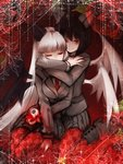 2girls arbus ater bad_id bad_pixiv_id black_hair black_wings blazer blood bloody_clothes bloody_hands bob_cut boots checkered checkered_legwear closed_eyes demon_wings eyeball flower haiiro_teien hime_cut horns hug hug_from_behind jacket long_hair looking_at_viewer multiple_girls multiple_wings nail_polish necktie pantyhose pleated_skirt porupu red_eyes red_legwear red_nails red_theme rose school_uniform siblings sitting skirt skirt_set smile twins white_hair white_wings wings