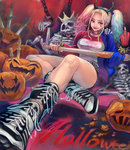 1girl baseball_bat batman_(series) belt blonde_hair blue_eyes blue_hair boots bracelet breasts choker cross-laced_footwear dc_comics demon_horns fake_horns halloween harley_quinn highres hira_(pixiv422561) horns jewelry lace-up_boots large_breasts lipstick long_hair looking_at_viewer makeup middle_finger multicolored_hair shorts sitting skeleton solo spiked_bracelet spikes studded_belt suicide_squad twintails