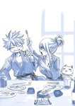 1boy 1girl breasts cat cleavage commentary fairy_tail food hair_up happy_(fairy_tail) japanese_clothes large_breasts looking_at_another lucy_heartfilia mashima_hiro monochrome natsu_dragneel smile spiked_hair table