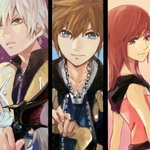 1girl 2boys bangs blue_eyes brown_hair chain_necklace closed_mouth commentary_request fingerless_gloves gloves green_eyes holding holding_weapon jewelry kairi_(kingdom_hearts) keyblade kingdom_hearts kingdom_hearts_ii long_hair looking_at_viewer multiple_boys necklace purple_eyes ramochi_(auti) red_hair riku short_hair silver_hair smile sora_(kingdom_hearts) spiked_hair weapon zipper zipper_pull_tab