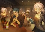 2boys 4girls ahoge alcohol artoria_pendragon_(all) black_hair bookshelf boots brick_wall commentary contemporary cu_chulainn_alter_(fate/grand_order) cup dahut_(fate/grand_order) dark_skin dark_skinned_male denim denim_shorts drinking_glass earrings emiya_alter eyepatch fate/grand_order fate_(series) feixiang_de_huojiren food formal francis_drake_(fate) jacket jeanne_d'arc_(alter)_(fate) jeanne_d'arc_(fate)_(all) jewelry lancer looking_at_viewer multiple_boys multiple_girls painting_(object) pink_hair pocky red_eyes saber_alter sharp_teeth shorts shuten_douji_(fate/grand_order) table teeth vest white_hair wicked_dragon_witch_ver._shinjuku_1999 yellow_eyes