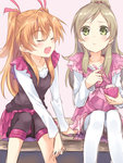 2girls :t bike_shorts blush brown_hair closed_eyes eating food green_eyes hair_ribbon half_updo houjou_hibiki ice_cream long_hair maruki_(punchiki) minamino_kanade multiple_girls open_mouth orange_hair precure ribbon sitting suite_precure thighhighs two_side_up white_legwear