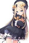 1girl :o abigail_williams_(fate/grand_order) bangs bankoku_ayuya black_bow black_dress black_hat black_ribbon blonde_hair bloomers blue_eyes blush bow commentary_request contrapposto cowboy_shot doll_hug dress eyebrows_visible_through_hair fate/grand_order fate_(series) forehead frills hair_bow hat long_hair long_sleeves looking_at_viewer orange_bow parted_bangs parted_lips ribbon sidelocks simple_background sleeves_past_fingers sleeves_past_wrists solo standing star star_print stuffed_animal stuffed_toy teddy_bear underwear white_background