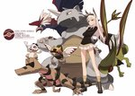 1girl animal_ears blonde_hair blue_eyes braviary crossed_arms crossover cubone flygon furukawa_wanosuke goggles goggles_on_head hanna-justina_marseille head_wings krokorok long_hair military military_uniform ninjask pokemon rhydon smile solo strike_witches tail uniform