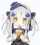 1girl bangs black_bow black_hairband black_skirt blue_headwear blush bow bubble_tea checkered checkered_bow closed_mouth collared_shirt cup disposable_cup drinking drinking_straw eyebrows_visible_through_hair facial_mark girls_frontline green_eyes grey_background hair_bow hair_ornament hairband hat heart highres hk416_(girls_frontline) holding holding_cup long_hair long_sleeves meow_nyang mini_hat shirt silver_hair simple_background skirt sleeves_past_wrists solo tilted_headwear twintails white_shirt