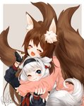 2017 2girls animal_ear_fluff animal_ears blade_&_soul blue_eyes blush brown_hair commission fox_ears fox_girl fox_tail gloves headband hug hug_from_behind long_hair lyn_(blade_&_soul) multiple_girls multiple_tails pink_cardigan plushmallow plushmallow_(lyn) ribbon rice365 signature silver_hair struggling tail