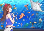 1girl a.i._channel absurdres angelfish aoi_ch. aquarium azuma_lim azuma_lim_channel blue_eyes blush brown_hair clownfish eyebrows_visible_through_hair fish floating_hair from_side fuji_aoi hair_between_eyes hair_ornament hair_ribbon highres hololive isutoon_(ist3129) kaguya_luna kashiko_mari kizuna_ai long_hair manta_ray mari_channel midriff minato_aqua mirai_akari mirai_akari_project neck_ribbon outdoors pandy_(mari_channel) profile red_ribbon ribbon roboco-san roboco_ch. shiny shiny_hair shirt sleeveless sleeveless_shirt standing star star_hair_ornament the_moon_studio tokino_sora tokino_sora_channel virtual_youtuber weathernews weatheroid white_shirt