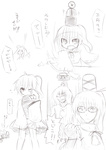 3girls bad_id bad_pixiv_id clenched_hand cosplay glasses greyscale hair_rings hat hat_removed headwear_removed highres himegi izanagi izanagi_(cosplay) kaku_seiga monochrome mononobe_no_futo multiple_girls narukami_yuu narukami_yuu_(cosplay) one_eye_closed open_mouth parody persona persona_4 ponytail sketch tate_eboshi touhou toyosatomimi_no_miko translation_request