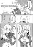 4girls ahoge animal_ears arms_at_sides artoria_pendragon_(all) atalanta_(alter)_(fate) atalanta_(fate) bangs bare_shoulders blush braid breasts cat_ears clarent cleavage_cutout closed_eyes comic commentary_request constricted_pupils cutoffs english_text eyebrows_visible_through_hair fang fate/apocrypha fate/grand_order fate/stay_night fate_(series) french_braid from_side fujimaru_ritsuka_(female) greyscale hair_bun hair_down height_difference highres holding holding_sword holding_weapon long_hair looking_at_another medium_breasts mo_zawa monochrome mordred_(fate) mordred_(fate)_(all) multiple_girls navel nose_blush open_mouth outdoors over_shoulder parted_bangs ponytail saber sidelocks small_breasts standing stomach sword sword_over_shoulder translation_request underboob very_long_hair wavy_hair weapon weapon_over_shoulder