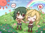 2girls :< :d ^_^ abukuma_(kantai_collection) animal animal_print bear_print black_legwear black_skirt blonde_hair blue_flower blue_shorts blue_sky blush boots brown_footwear brown_hoodie bush butterfly closed_eyes closed_mouth cloud commentary_request day drawstring flower green_eyes green_hair heart heterochromia holding_hands hood hood_down hoodie kantai_collection kiso_(kantai_collection) komakoma_(magicaltale) loafers long_sleeves looking_at_viewer multiple_girls open_mouth outdoors pantyhose plaid plaid_skirt pleated_skirt purple_footwear rainbow red_flower romaji shirt shoes short_shorts shorts skirt sky smile spoken_blush spoken_heart sun thighhighs white_flower white_shirt yellow_eyes yellow_flower