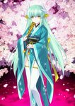 1girl black_(artist) cherry_blossoms fate/grand_order fate_(series) green_hair japanese_clothes kiyohime_(fate/grand_order) long_hair official_art solo thighhighs tree very_long_hair
