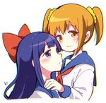 2girls :3 blue_eyes bow eyebrows_visible_through_hair hair_bow hair_ornament hair_scrunchie hiroichi long_hair looking_at_viewer multiple_girls pipimi poptepipic popuko red_bow school_uniform scrunchie serafuku short_hair sidelocks simple_background two_side_up upper_body white_background yellow_eyes yuri