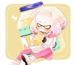 +_+ 1girl black_gloves blush boots commentary_request crown directional_arrow domino_mask dress eating fingerless_gloves gloves hime_(splatoon) holding jar long_sleeves mask mayonnaise mole mole_under_mouth pantyhose pink_legwear sitting solo splatoon_(series) splatoon_2 squirt_bottle tentacle_hair thick_eyebrows uni_(u2katsu14) white_dress white_footwear yellow_background yellow_eyes