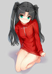1girl 3: arudehido barefoot black_hair blush breasts fate/stay_night fate_(series) green_eyes hair_ribbon long_hair looking_at_viewer naked_sweater no_legwear ribbed_sweater ribbon shirt_tug simple_background solo sweater toosaka_rin two_side_up