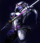 1girl arched_back armor breasts contrapposto covered_nipples helmet large_breasts pauldrons puropera_(puropera) saryn_(warframe) saryn_prime_(warframe) simple_background skin_tight standing sword warframe weapon