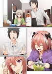 3boys alcohol astolfo_(fate) blonde_hair brown_hair chair chips comic commentary_request computer cup faceless faceless_male fang fate/apocrypha fate/grand_order fate_(series) flying_sweatdrops food fujimaru_ritsuka_(male) gao_changgong_(fate) ginhaha grey_eyes laptop multicolored_hair multiple_boys open_mouth pink_eyes pink_hair potato_chips round_teeth short_hair silent_comic snack sparkle streaked_hair sweat teeth thumbs_up two-tone_hair whiskey