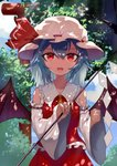 1girl :d ascot bangs bare_shoulders bat_wings blue_hair blue_sky chinese_commentary clenched_hand cloud commentary_request cosplay cowboy_shot day detached_sleeves frilled_shirt_collar frills gohei hair_between_eyes hakurei_reimu hakurei_reimu_(cosplay) hat hat_ribbon highres holding long_sleeves looking_at_viewer mob_cap open_mouth outdoors red_eyes red_ribbon red_skirt remilia_scarlet ribbon ribbon-trimmed_sleeves ribbon_trim short_hair skirt skirt_set sky smile snozaki solo touhou tree white_headwear wide_sleeves wings yellow_neckwear