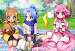 3girls :o absurdres ahoge animal_ears bangs bare_legs bare_shoulders barefoot blanket blue_eyes blue_hair blush bow bowtie brown_hair bush butterfly_sitting character_request detached_sleeves dog_days dog_ears dog_tail dress feet flat_chest flower flying forehead_jewel gem gloves grass halterneck hands_on_feet hands_together high_ponytail highres holding jewelry kuberu_e_pastillage leg_warmers legs light_smile long_hair long_skirt looking_at_another looking_at_viewer millhiore_f_biscotti multiple_girls nature necklace nyantype official_art open_mouth outdoors parted_bangs payot pendant pink_hair plaid ponytail purple_eyes ring scan scarf seiza sharu_(dog_days) short_hair side_slit sitting skirt smile socks spread_legs squirrel_ears squirrel_tail surprised tail tail_hold toeless_socks tree turtleneck wariza wavy_hair white_gloves