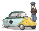 2girls alternate_costume arms_behind_back black_footwear black_jacket blue_hat blue_pants bomber_jacket boots commentary driving germany girls_und_panzer hat itsumi_erika jacket light_blush long_hair long_sleeves looking_at_another messerschmitt messerschmitt_kr200 military military_hat military_uniform multiple_girls nishizumi_maho open_mouth pants peaked_cap roundel shadow short_hair silver_hair standing sweatdrop uniform uona_telepin