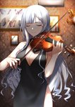 1girl absurdres ak-12_(girls_frontline) alternate_costume bangs black_dress blurry blurry_background breasts cleavage closed_eyes closed_mouth cowboy_shot dress facing_viewer girls_frontline halter_dress han_a_o3o highres holding holding_instrument indoors instrument long_hair medium_breasts music photo_(object) playing_instrument red_nails side_slit sidelocks silver_hair sleeveless smile solo violin