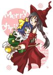 2girls black_eyes black_hair blue_hair eiko_carol final_fantasy final_fantasy_ix garnet_til_alexandros_xvii green_eyes hair_ribbon hat hug long_hair low-tied_long_hair merry_christmas multiple_girls ribbon