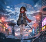 1boy 1girl bare_legs blue_shirt blue_skirt brown_coat brown_eyes brown_hair building catzz cityscape cloud cloudy_sky coat highres holding holding_umbrella lamppost long_hair long_sleeves looking_at_viewer miniskirt open_clothes open_coat original outdoors parted_lips pleated_skirt puddle rain red_scarf reflection ripples road scarf shirt shoes skirt sky sneakers street thighs transparent transparent_umbrella umbrella upside-down walking water wing_collar