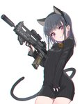 1girl absurdres animal_ears assault_rifle bell black_hair black_sweater bullpup cat_ears cat_tail chromatic_aberration commentary_request earrings eyebrows_visible_through_hair gun highres holding holding_gun holding_weapon jewelry jingle_bell long_hair looking_at_viewer military necklace oota_youjo original parted_lips pink_eyes rifle scope sleeves_past_wrists solo stud_earrings suppressor sweater tail trigger_discipline turtleneck turtleneck_sweater vhs-d2 weapon white_background