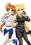 2girls absurdres bardiche blonde_hair bow fate_testarossa hair_bow highres long_hair looking_at_viewer low-tied_long_hair lyrical_nanoha mahou_shoujo_lyrical_nanoha_strikers microphone military military_uniform multiple_girls music official_art okuda_yasuhiro open_mouth pantyhose pencil_skirt purple_eyes raising_heart red_eyes red_hair scan shoes side_ponytail side_slit simple_background singing skirt smile takamachi_nanoha thighhighs tsab_air_military_uniform tsab_executive_military_uniform uniform very_long_hair white_background white_legwear zettai_ryouiki