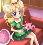 1girl animal_ears blonde_hair blue_eyes bow cat_ears cat_tail commentary_request couch creature dress earrings fake_animal_ears fake_tail garnet_(jewelpet) green_dress hairband heart heart_pillow jewelpet_(series) jewelpet_twinkle jewelry miria_marigold_mackenzie pillow red_bow red_hairband sango_(jewelpet) tail takurou_(bpm191) twintails