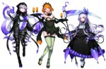 3girls alternate_color apron bow breasts chandelure cleavage detached_collar dress drill_hair earrings expressionless feathers fire frills full_body garter_straps gen_5_pokemon gloves headdress highres jewelry katagiri_hachigou lampent large_breasts lavender_hair leotard long_hair long_sleeves looking_at_viewer mary_janes multiple_girls open_mouth orange_hair personification pink_eyes pokemon puffy_sleeves purple_gloves scythe shiny_pokemon shoes simple_background thighhighs tray turtleneck waist_apron white_background white_legwear wide_sleeves yellow_eyes