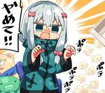 1girl bangs blue_eyes blue_jacket blush bow commentary eromanga_sensei eyebrows_visible_through_hair hair_between_eyes hair_bow hands_up izumi_sagiri jacket kanikama long_hair long_sleeves lowres nose_blush open_mouth pink_bow silver_hair solo stuffed_animal stuffed_octopus stuffed_toy sweat teddy_bear track_jacket translated trash_can used_tissue v-shaped_eyebrows wide_sleeves