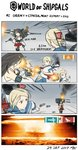 ! 4koma absurdres afterimage burning comic commentary dress funnels fusou_(kantai_collection) gameplay_mechanics gremyashchy_(greythorn032) greythorn032 hair_bun hair_ornament highres kantai_collection long_hair motion_lines mushroom_cloud naval_flag nontraditional_miko original pagoda sailor_dress soviet_navy torpedo turret v world_of_warships