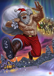 1boy 2015 aurora bag belt boots cat christmas commentary flying forest hat house looking_at_viewer male_focus manly matataku muscle nature original pants reindeer santa_claus santa_hat shirtless signature sled snowing solo surprised_cat_(matataku) white_hair