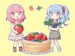 2girls :d bang_dream! bangs bd_ayknn blue_hair blueberry blush collared_dress commentary_request doily dress eyebrows_visible_through_hair food frilled_dress frilled_sleeves frills fruit full_body grey_dress hair_down hair_ribbon hairband holding holding_food holding_fruit light_blue_hair long_hair lying maruyama_aya matsubara_kanon minigirl multiple_girls on_side open_mouth outline pinafore_dress pink_eyes pink_hair plaid plaid_dress purple_eyes red_footwear red_ribbon ribbon short_sleeves sidelocks simple_background sleeveless sleeveless_dress smile standing strawberry striped striped_dress tart_(food) unmoving_pattern white_footwear white_hairband white_outline yellow_background