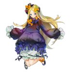 1girl abigail_williams_(fate/grand_order) bangs black_bow black_dress black_footwear blonde_hair bloomers blue_eyes blush bow bug butterfly closed_mouth commentary_request dress fate/grand_order fate_(series) forehead full_body hair_bow insect long_hair long_sleeves looking_at_viewer mary_janes no_hat no_headwear orange_bow parted_bangs pg_(lhotseshar) shoes simple_background sleeves_past_fingers sleeves_past_wrists solo underwear very_long_hair white_background white_bloomers