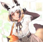 1girl alternate_costume animal_ears bag bat-eared_fox_(kemono_friends) blouse blush bow bowtie brown_hair buttons casual collared_shirt commentary_request cowboy_shot earrings elbow_gloves extra_ears eyebrows_visible_through_hair fox_ears fox_tail gloves handbag happa_(cloverppd) jewelry kemono_friends light_brown_hair multicolored_hair pleated_skirt shirt short_hair skirt solo tail white_hair yellow_eyes